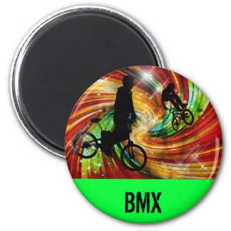 BMXers in Red and Orange Grunge Swirls Magnet