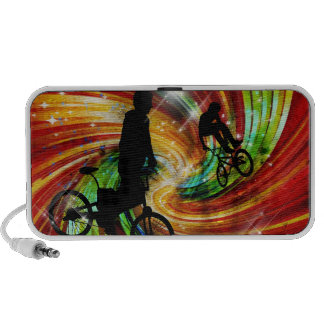 BMXers in Red and Orange Grunge Swirls Mini Speaker
