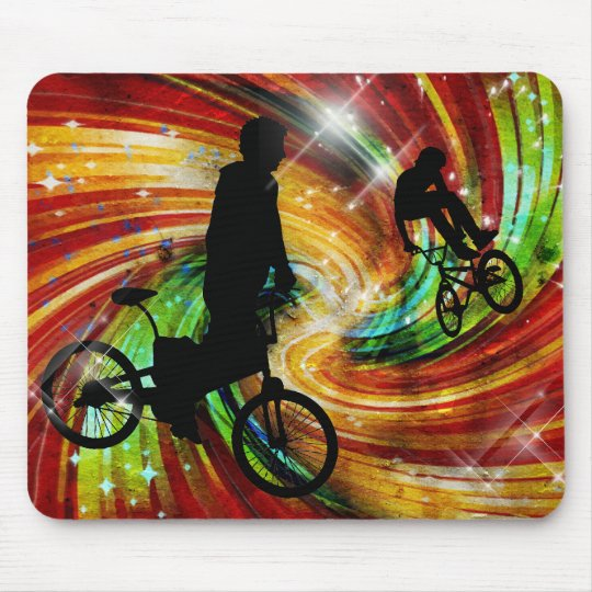 BMXers in Red and Orange Grunge Swirls Mouse Pad