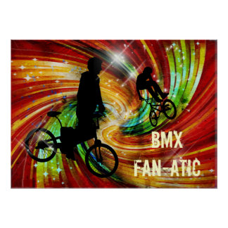 BMXers in Red and Orange Grunge Swirls Poster