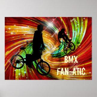BMXers in Red and Orange Grunge Swirls Poster