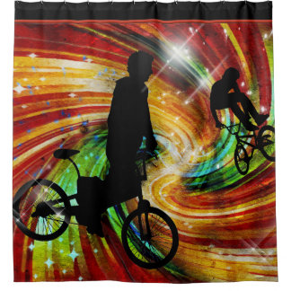 BMXers in Red and Orange Grunge Swirls Shower Curtain