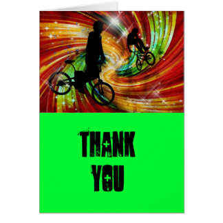 BMXers in Red and Orange Grunge Swirls Thanks Card