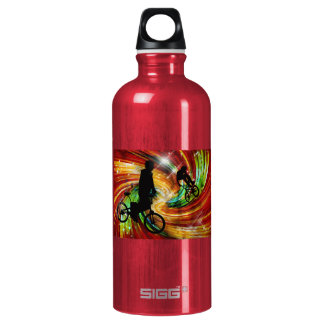BMXers in Red and Orange Grunge Swirls Water Bottle