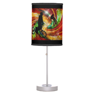 BMXers on Red & Green Grunge Swirls Desk Lamp