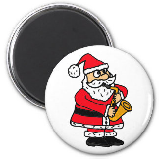 BN- Funny Santa Claus Playing the Saxophone Magnet