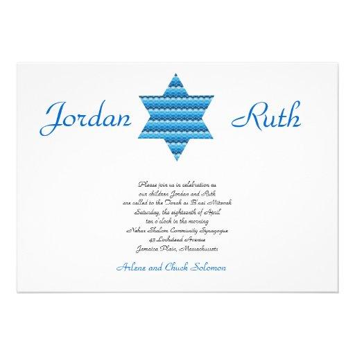 B'nai Mitzvah Invitation Twins Star of David