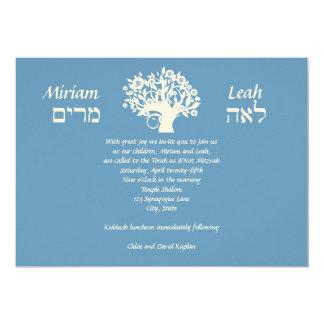 B'Nai Mitzvah Twins Tree of Life Hebrew Card