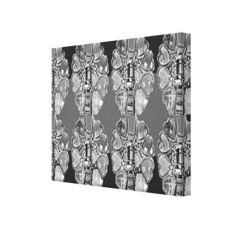 BNW B&W Decorative Jewel Pattern Black n White FUN Canvas Print