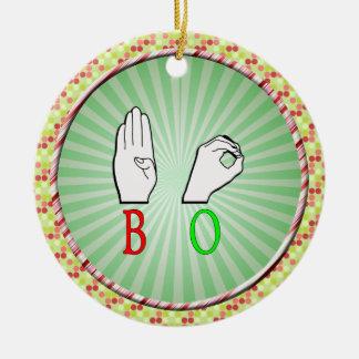 BO FINGERSPELED NAME SIGN ASL CERAMIC ORNAMENT