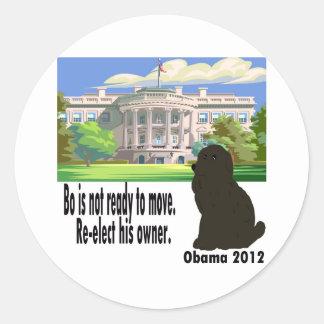 BO no se está moviendo reelige a su dueño Obama Etiquetas Redondas