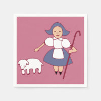 Bo Peep/Mary had a little lamb paper napkin