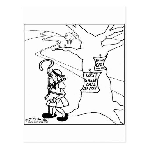 Bo Peep Posts Lost Sheep Sign Postcard