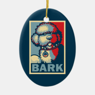 "Bo The Dog, Funny ""Obama HOPE"" Double-Sided Oval Ceramic Christmas Ornament"