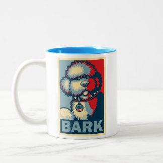 "Bo The Dog, Funny ""Obama HOPE"" Two-Tone Coffee Mug"