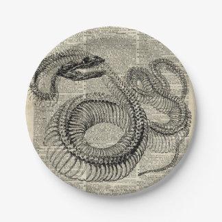 Boa Snake Skeleton Vintage Dictionary Page Art Paper Plate