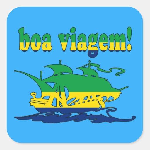 Boa Viagem - buen viaje en brasilen@o - vacaciones Calcomanía Cuadradas Personalizadas