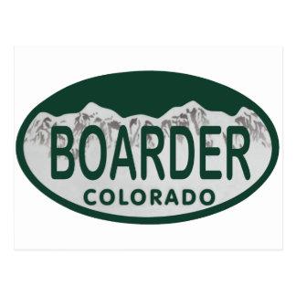 boader license oval postcard