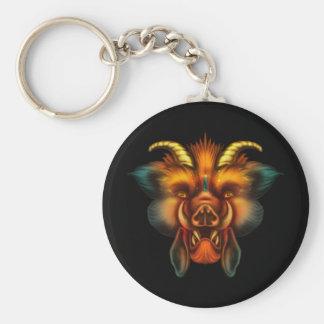 Boar Basic Round Button Keychain