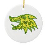 Boar Head Celtic Knot Ceramic Ornament