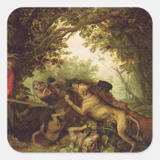 Boar Hunt, 1611 Square Sticker