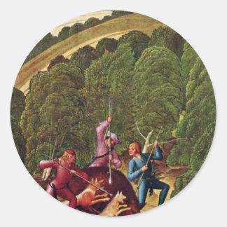Boar Hunt By Frueauf D. J. Rueland (Best Quality) Round Sticker