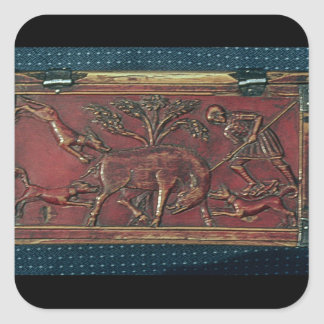 Boar Hunt, plaque from a Byzantine casket, 11th ce Square Sticker
