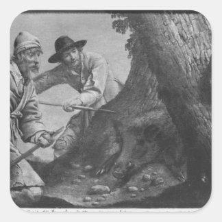 Boar hunt square sticker