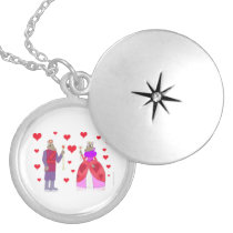 Boar King and Queen of Hearts Locket Necklace