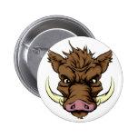 Boar mascot 2 inch round button