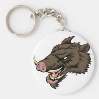 Boar mascot character basic round button keychain