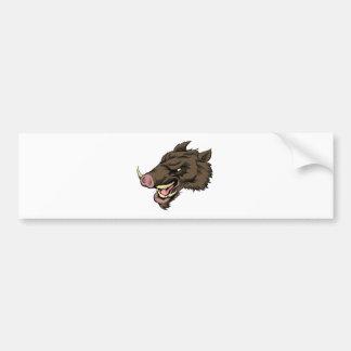 Boar mascot character bumper sticker