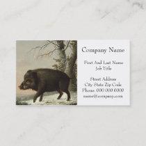 Boar Pig Vintage German Painting Business Card