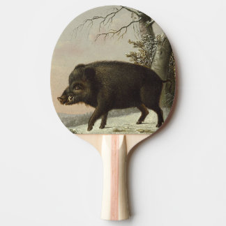 Boar Pig Vintage German Painting Ping Pong Paddle