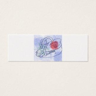 Boar skull watercolour red/blue mini business card