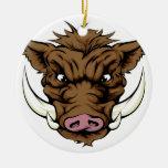 Boar sports mascot character ceramic ornament