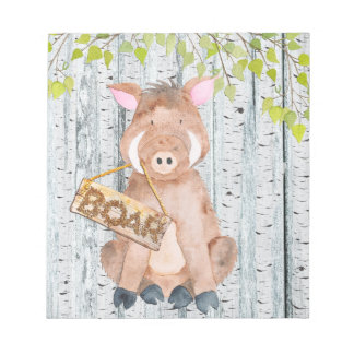 Boar- Woodland Friends - Watercolor illustration Notepad