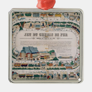 Board for a railway game, 1850 metal ornament