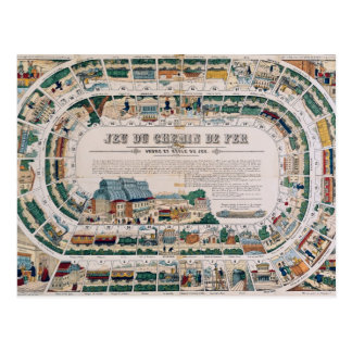 Board for a railway game, 1850 postcard