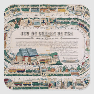 Board for a railway game, 1850 square sticker