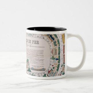 Board for a railway game, 1850 Two-Tone coffee mug