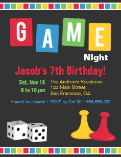 Kids birthday party invitations announcements zazzle board game night kids birthday party invitations filmwisefo