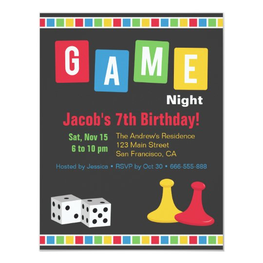 Board Game Night Kids Birthday Party Invitations Zazzlecom