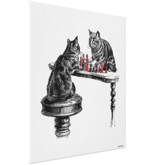 Board Games Two Cats playing Chess Match Red Canvas Print