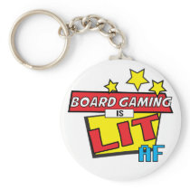Board Gaming is LIT AF Pop Art comic book style Keychain