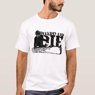 BOARD OR DIE. skeleboarder. black. T-Shirt
