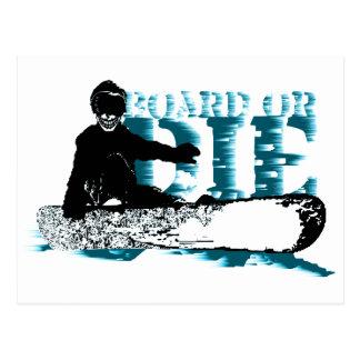 board or die. skeleboarder. postcard