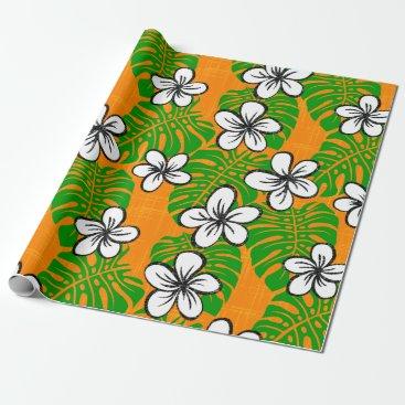 Beach Themed Board Short Garden - orange Wrapping Paper