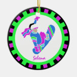 BoardChick Live to Board Double-Sided Ceramic Round Christmas Ornament