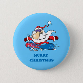 BoardChick Santa Merry Christmas Pinback Button